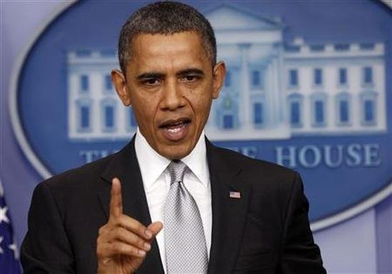 US President Barack Obama speaks about the fiscal cliff to members of the media in the White House Briefing Room