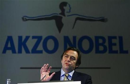 Hans Weijers, chief executive of Akzo Nobel, speaks during the presentation in Amsterdam.