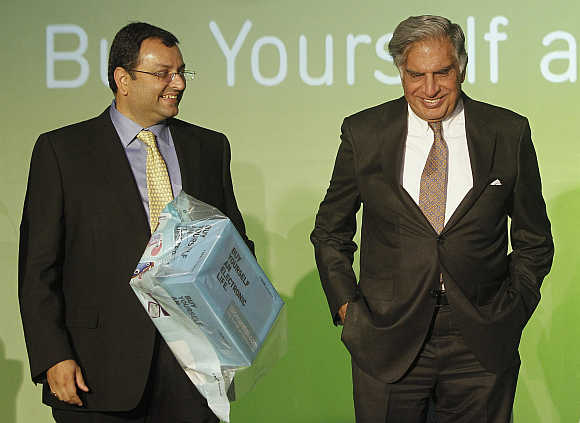 Ratan Tata with Cyrus Mistry in Mumbai.