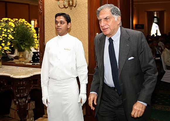 Ratan Tata leaves venue after attending annual general meeting of shareholders of Tata Tea Ltd in Kolkata.