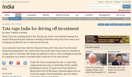 Snapshot of the The Financial Times' story