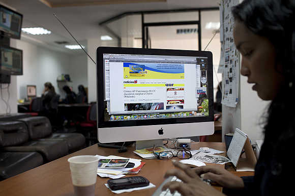 A journalist works in the office of the news site Noticias24.com in Caracas, Venezuela. Photo is for representation purpose only.