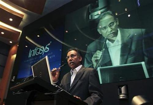 S.D. Shibulal, chief executive officer of Infosys, speaks during the announcement of the company's quarterly financial results at their headquarters in Bangalore