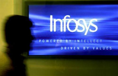 A man walks past a billboard of Infosys