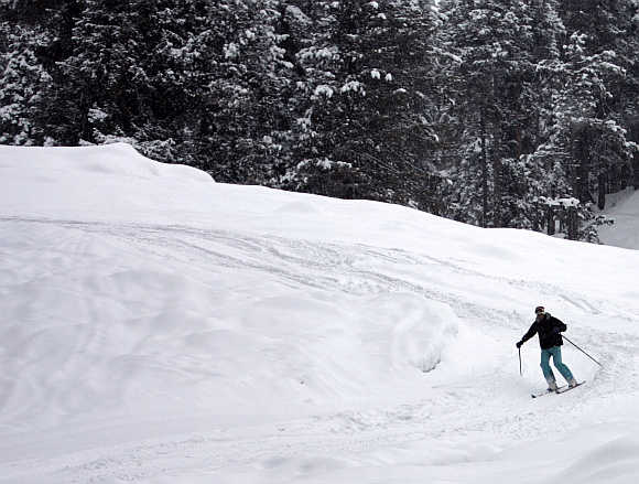 A man skies down a slope in Gulmarg, 55km west of Srinagar.
