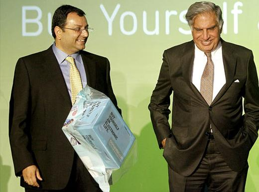 Cyrus Mistry, left, will take the baton from Ratan Tata, right, once the latter steps down from Tata Sons chairmanship on Dec 28.
