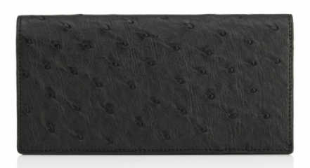 Black Ostrich Leather Coat Wallet.