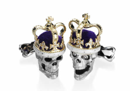 Michael C Fina 18k Gold Crowned Diamond Eye Skull Cufflinks.