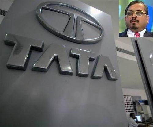 Tata logo inside a showroom of Tata Motors. Inset: Dilip Pendse, former MD of the erstwhile Tata Finance.