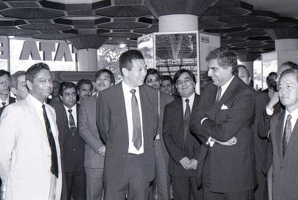 Ratan Tata with the then-Singapore prime minister at Tata showroom in Worli, Mumbai.