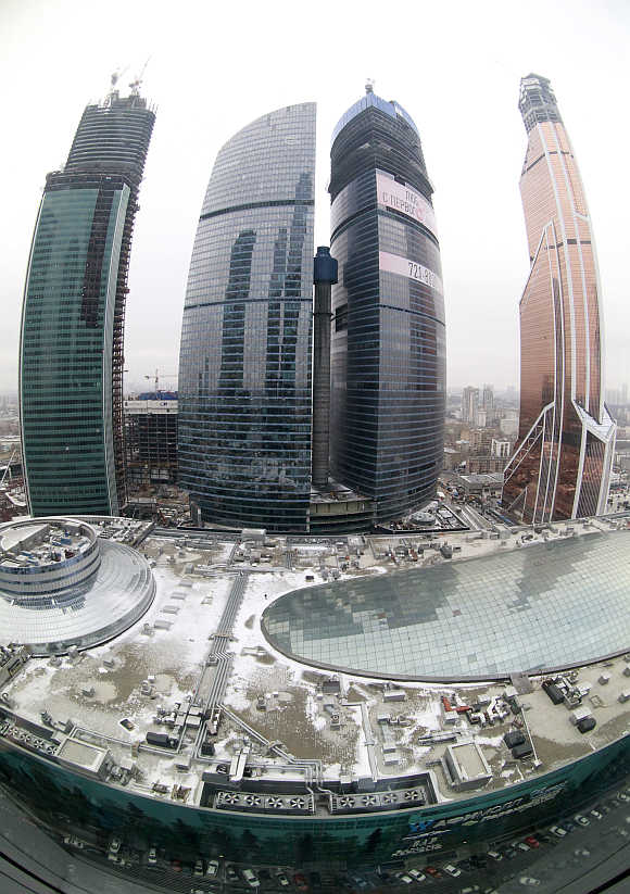 A view of the Moscow International Business Center and the Mercury City Tower in Moscow.