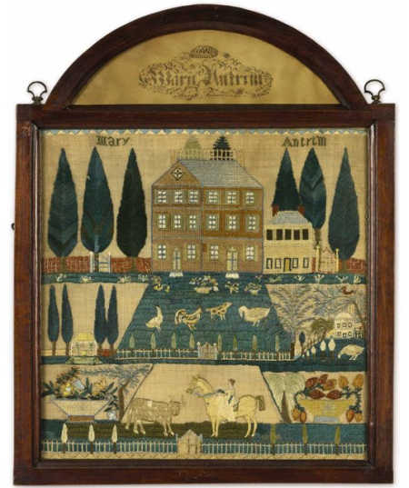 Needlework sampler by Mary Antrim.