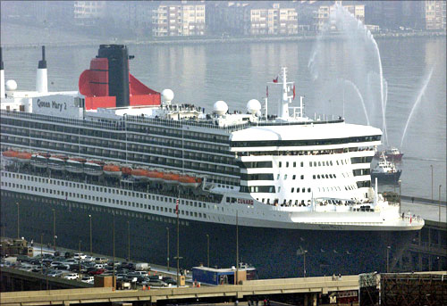 Queen Mary 2 docked in New York.