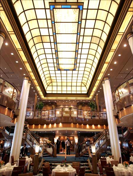 A skylight is seen above the Britannia Restaurant aboard the Queen Mary 2.