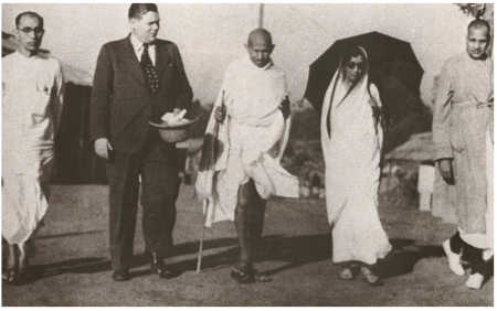 Mahatma Gandhi with Jamnalal Bajaj, extreme right.