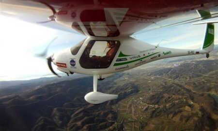 Matevz Lenarcic flies over the mountains.