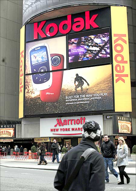 A Kodak billboard is seen in New York's Times Square.