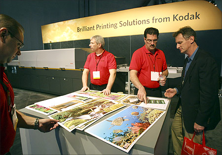 Texturized prints made by the Kodak NexPress Dimensional Printing System are displayed during the 2012 International Consumer Electronics Show.