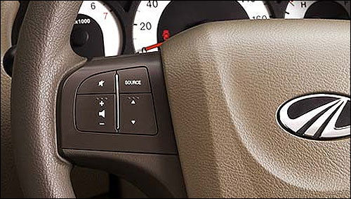 Audio control on steering wheel.