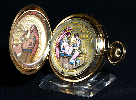 A fine, hunting-cased, keyless, minute-repeating, 14K rose gold pocket watch with concealed erotic automaton.