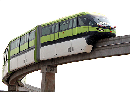 Monorail trial run at Pratiksha Nagar, Sion in Mumbai.