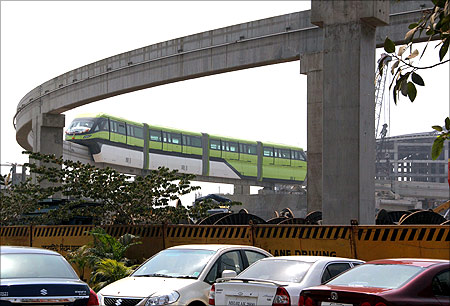 Mumbai monorail on a trial run.