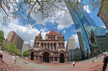 Wheat grain is a staple food. A view of Boston.