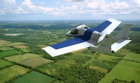 The flying car can go from being a car to a plane in less than a minute by unfolding its wings.