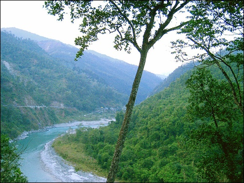A view of the Teesta River valley near Kalimpong.