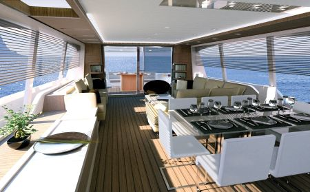 Ferretti designers have hung onto the well-received design solutions from the hugely successful Ferretti 800 and Ferretti 830.