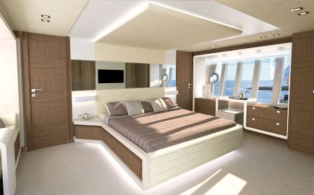 The VIP cabin is placed in the bow and has windows with opening portholes on either side.