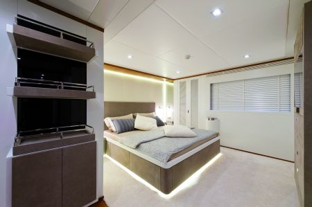 The superyacht is capable of accommodating 16 guests and six crew members.