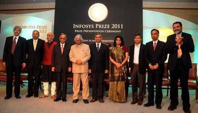 Mehta (second from left) was awarded the Infosys Prize for Social Sciences - Political Science