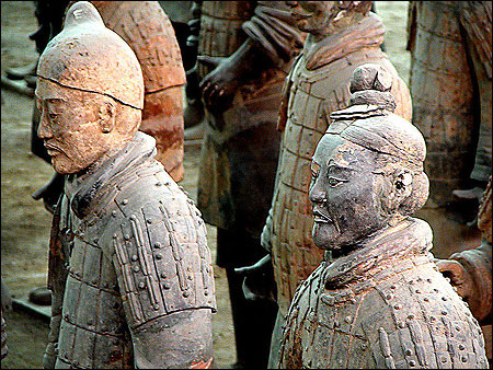Some of the thousands of life-size Terracotta Warriors of the Qin Dynasty, China.