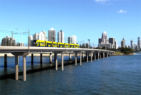 Light rail system on the Gold Coast.