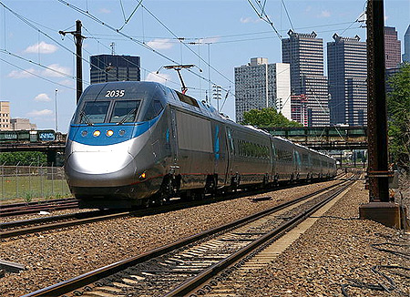 Amtrak Acela Express train at New Haven Union Station in New Haven, CT.