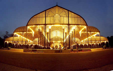 Lal Bagh Glass House at night in Bangalore.