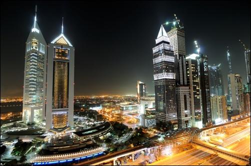 Dubai Metro at night.