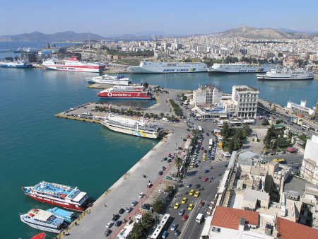A view of port of Piraeus in Greece.