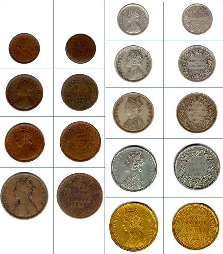 Coins issued after 1840 bore the portrait of Queen Victoria.