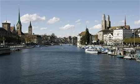 (Swiss city of Zurich and the Limmat River