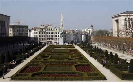 A general view shows the Brussels City Hall as seen from the Mont des Arts