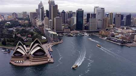 A view of Sydney Harbour and the Opera House.