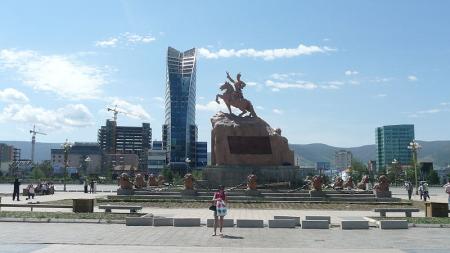 Sukhbaatar Square in Ulan Bator.