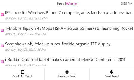 FeedWorm is a no-frills Windows Phone application.