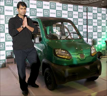 Rajiv Bajaj, managing director, Bajaj Auto, with the newly launched RE60.
