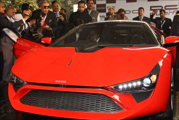 Superstar Amitabh Bachchan inside the supercar Avanti.