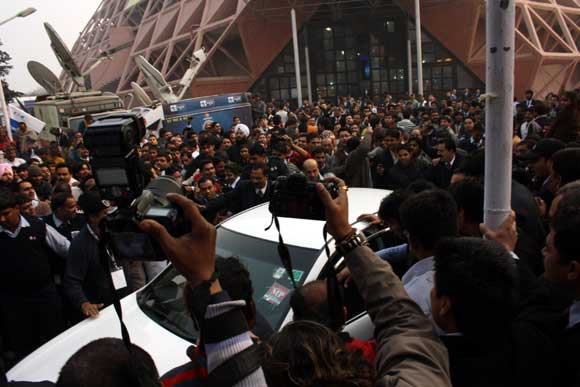 Enthusiasts thronged to see Amitabh Bachchan at the Auto Expo on Thursday.