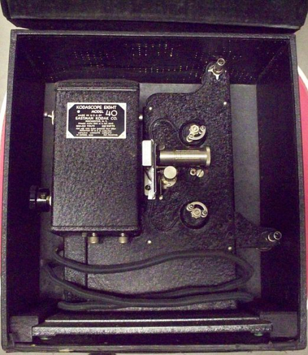 A Kodak Kodascope Eight Model 40 shown inside a Kodak carrying case.