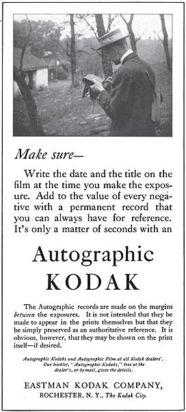 Autographic Kodak magazine advertisement from 1915.